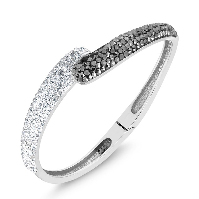 Black & White Crystal Bangle Bracelet