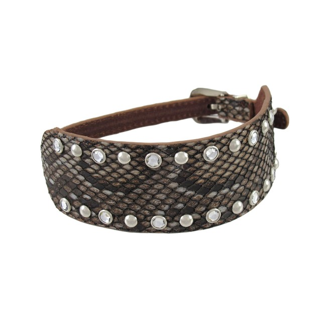 Brown Leather Snakeskin Texture Wrap Bracelet Womens Leather Bracelets