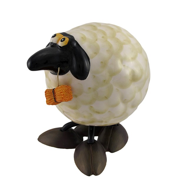 Silly Bobbling Ceramic Sheep Figurine 6 In. Statues