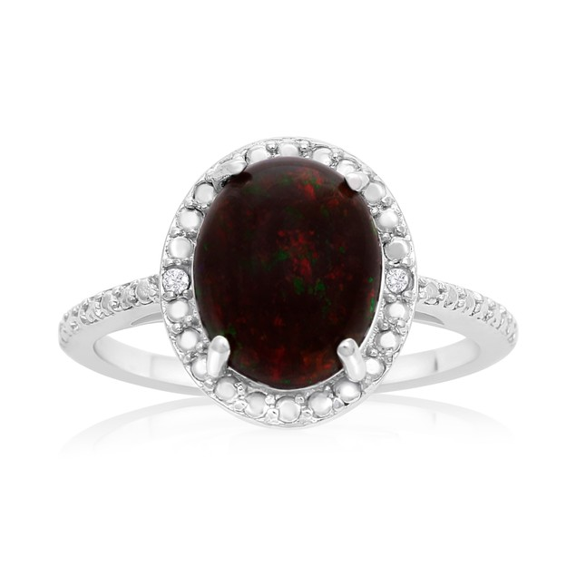 1 1/2 Carat Black Opal and Halo Diamond Ring In Sterling Silver