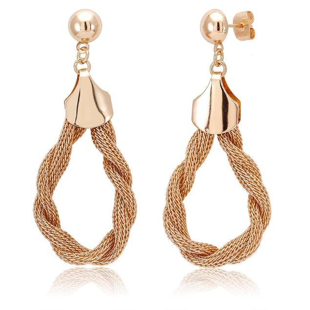 18kt Yellow Gold Plated Drop Twirl Chandelier Earrings
