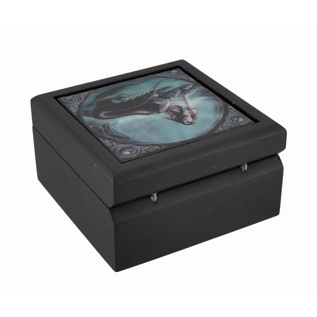 Gothic 'Siren's Lament' Mermaid Ceramic Art Tile Decorative Boxes