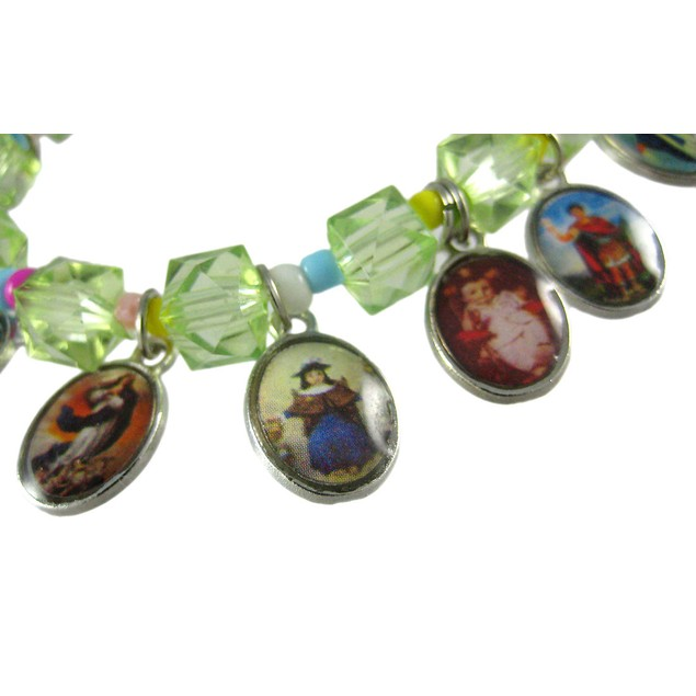 Green Stretch Bracelet W/ Dangling Religious Womens Stretch Bracelets