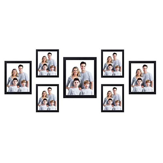 Nuvita 7 Piece Black Photo Frame Wall Kit with Decorative Hanging Template