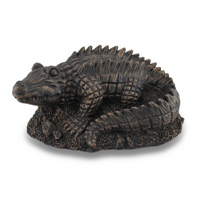 Antiqued Bronze Finish Alligator Statue Outdoor Statues
