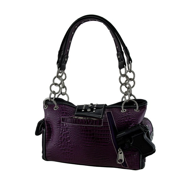Chevron Studded Rhinestone Buckle Mock Croc Womens Shoulder Handbags