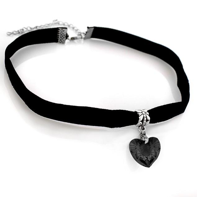Velvet Choker with Heart Charm - Black