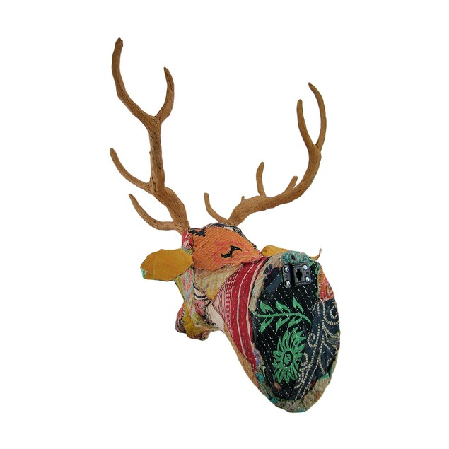 Recycled Indian Sari Fabric Covered Deer Head Wall Wall Sculptures