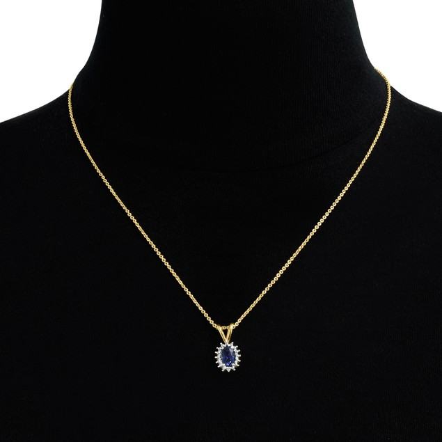 1ct Oval Sapphire and Halo Diamond Necklace, 18""