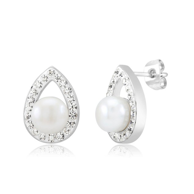 Gold Plated Crystal & Imitation Pearl Teardrop Earrings