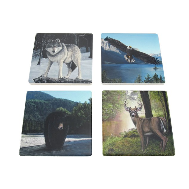 Set Of 4 Forest Wildlife Ceramic Tile Coasters Coasters