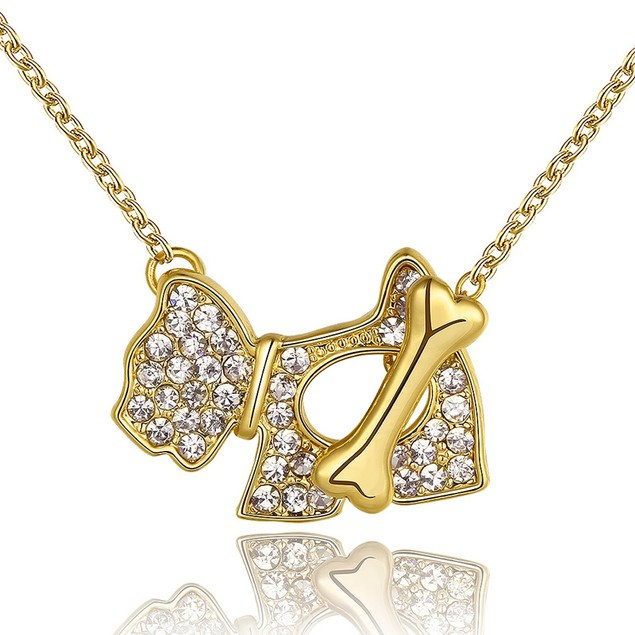 Gold Plated Crystal Dog & Bone Necklace