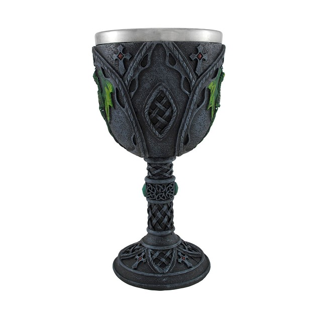 Jeweled Black Goblet With Green Dragons And Celtic Wine Goblets
