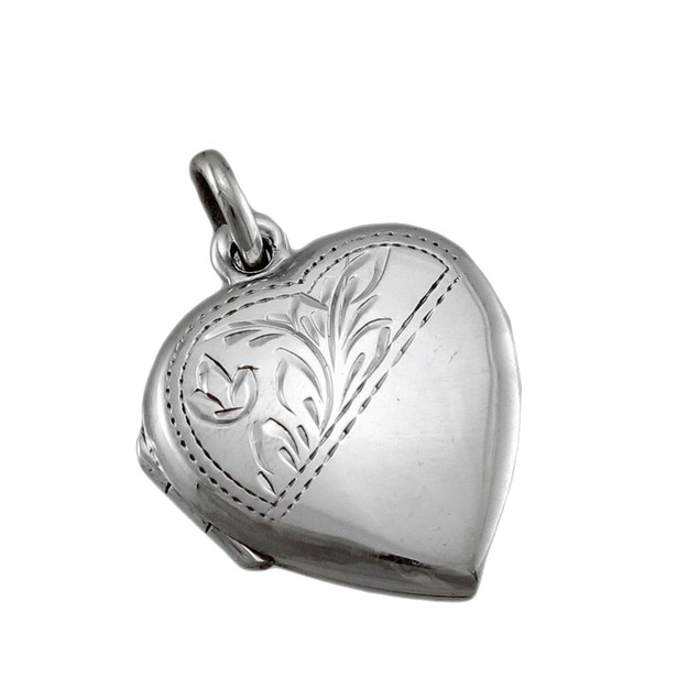 Sterling Silver Etched Heart Locket Pendant Pendants