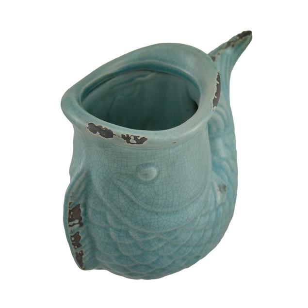 Blue Crackle Finish Ceramic Koi Fish Vase Decorative Vases