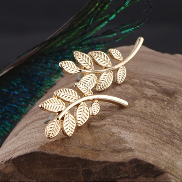 Gold Tone Leafe Shaped Earrings
