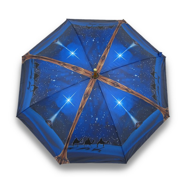 O Holy Night Nativity Print Bamboo Stick Umbrella Umbrellas