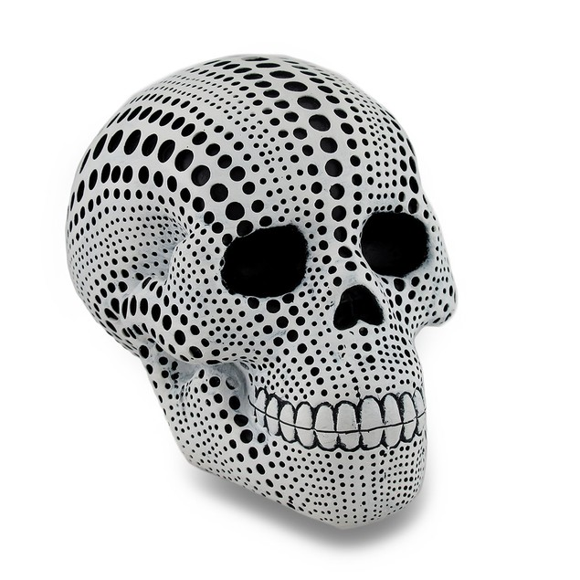 White And Black Dotted Human Skull Statue 4.5 In. Head Sculptures