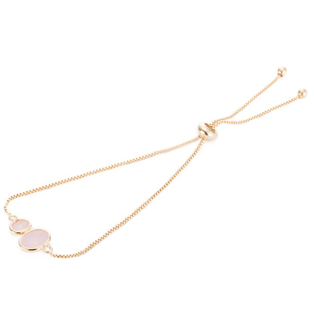 Gold Plated Duo Circular Coral Gem Bracelet