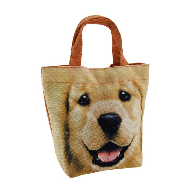 In Your Face Happy Lab Yellow And Orange Lined Womens Tote Bags