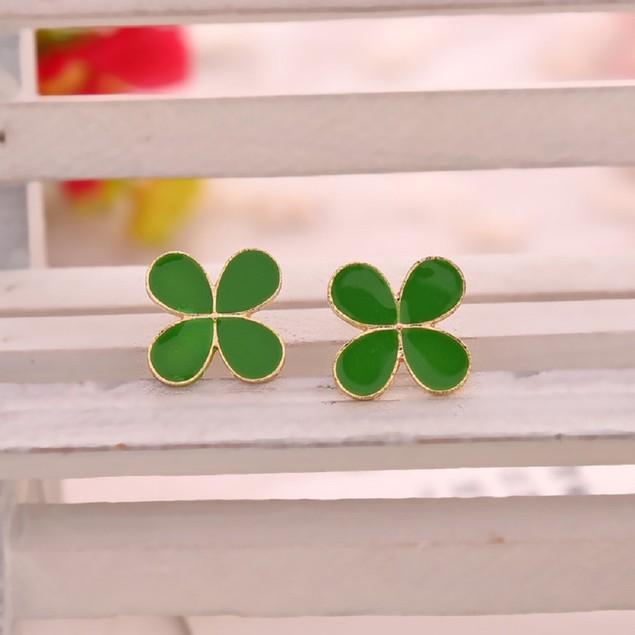 Gold Tone Green Clover Earrings