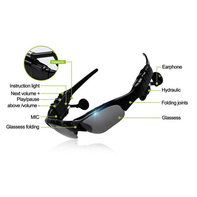 Smart Glasses w/ Wireless Bluetooth Headphones for Smartphones