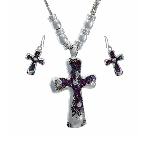 Drusy Quartz Cross Necklace And Dangle Earrings Womens Earring And Necklace