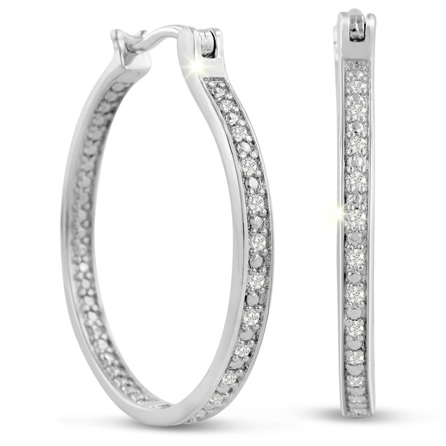1/4 Carat Diamond Hoop Earrings