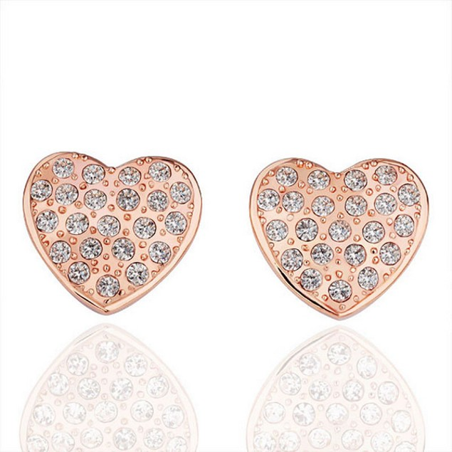 Solid Heart Earrings with Austrian Crystal