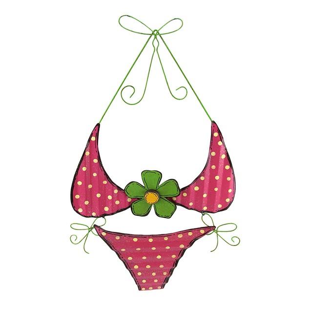 Tin Pink Polka Dot Bikini Wall Hanging Sculptures