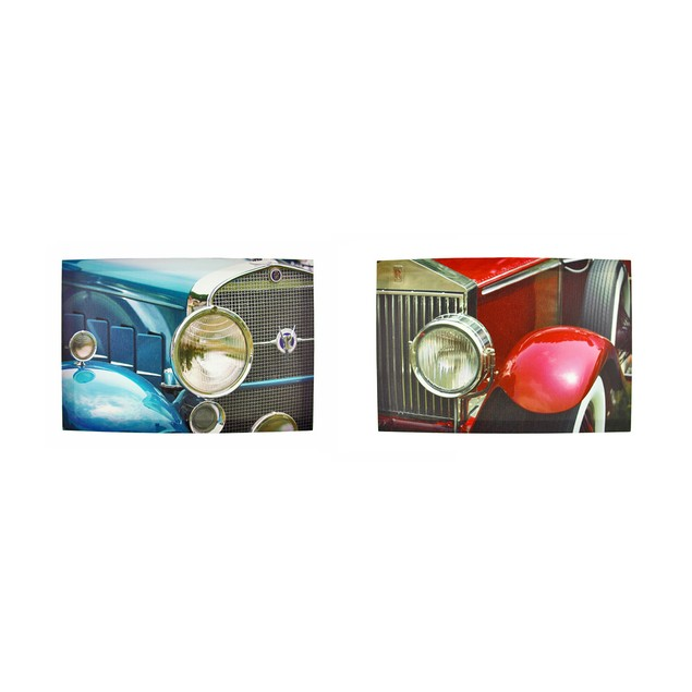 Pair Of Classic Cars Printed Canvas Wall Hangings Prints