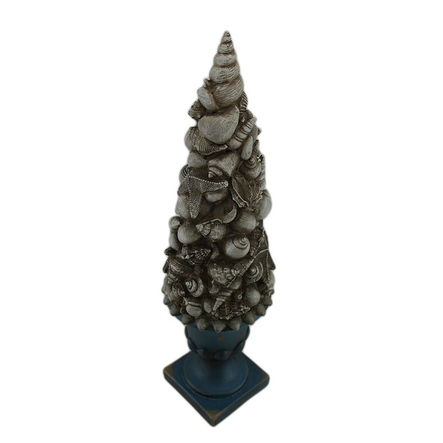 Seashell Tree Turquoise And White Vintage Finish Statues