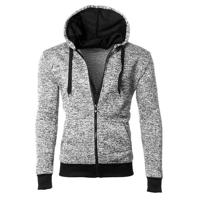 Men's Moisture Wicking Fleece-Lined Full-Zip Up Marled Hoodie (S-2X)