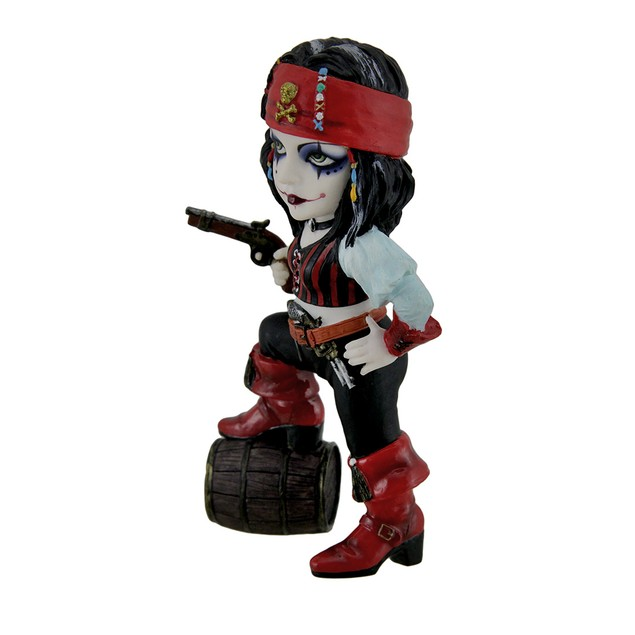 Cosplay Kids Pirate Girl W/ Barrel Of Rum Statue Statues