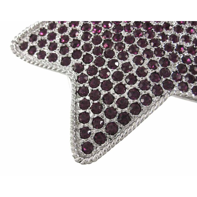 Purple Rhinestone Covered Chrome Star Belt Buckle Mens Belt Buckles
