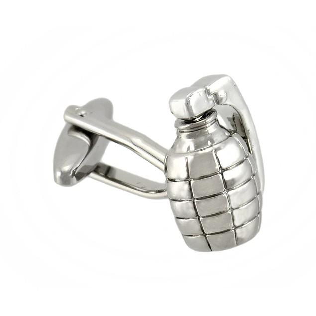Polished Chrome Grenade Cufflinks Mens Cuff Links