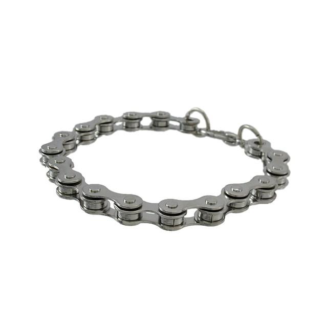 10 In. Chrome Plated Bike Chain Link Bracelet Mens Chain Bracelets