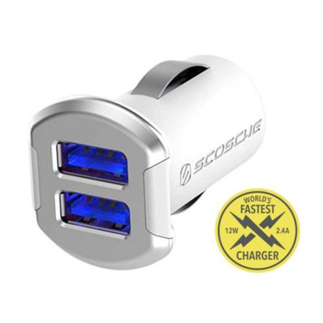 Scosche 24W Dual Port illuminated USB Fast Car Charger for Android & iPhone