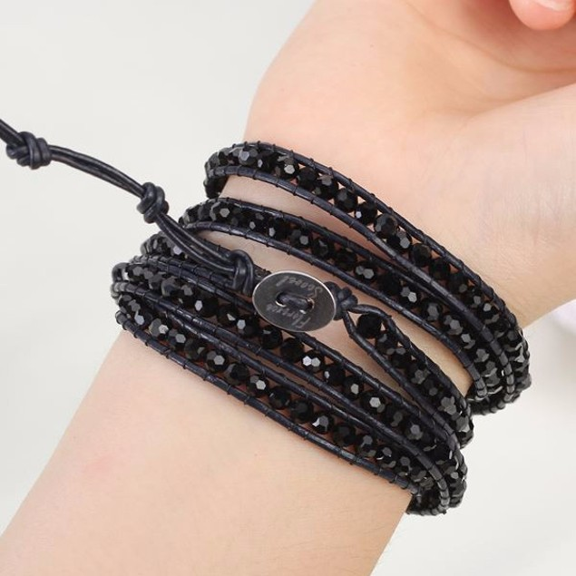 Midnight Crystal Beads Wrap Bracelet