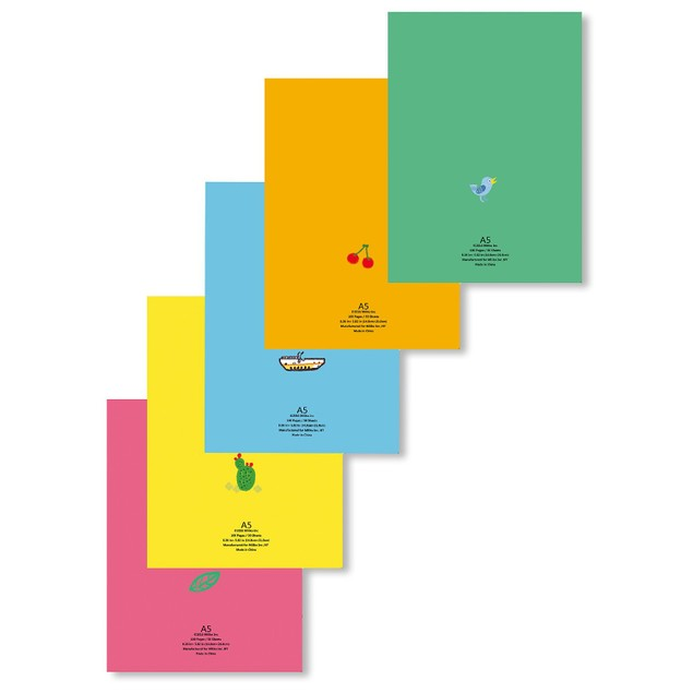 5-Pack: Miliko A5 Color Series Softcover Notebook/Journal/Diary Set