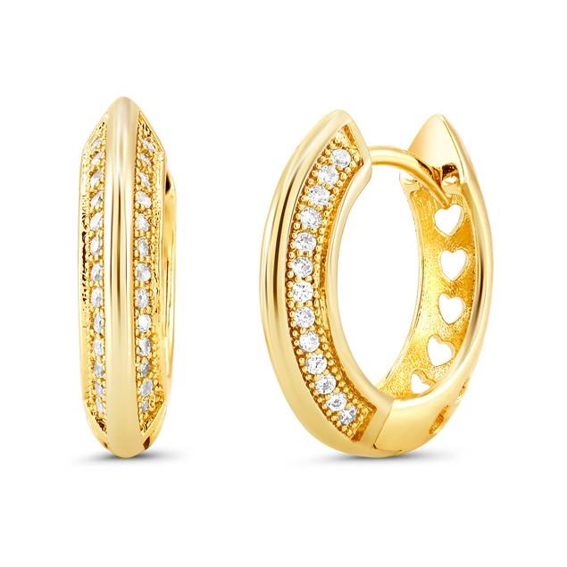 18kt Yellow Sided Goldtone Cubic zirconia  Huggie Earrings