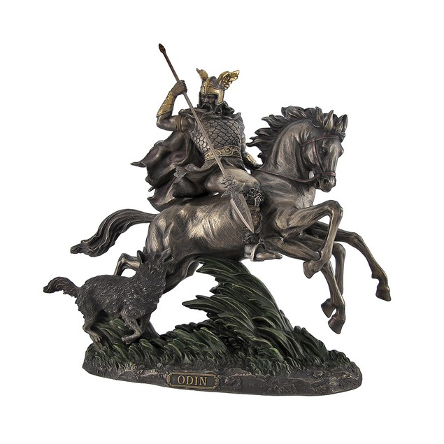 Bronzed Norse God Odin Riding Sleipner Statue Statues
