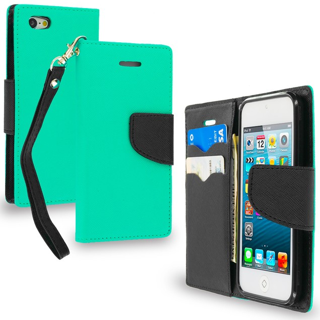 Apple iPod Touch 5th Gen Wallet Flip Pouch TPU Case Cover