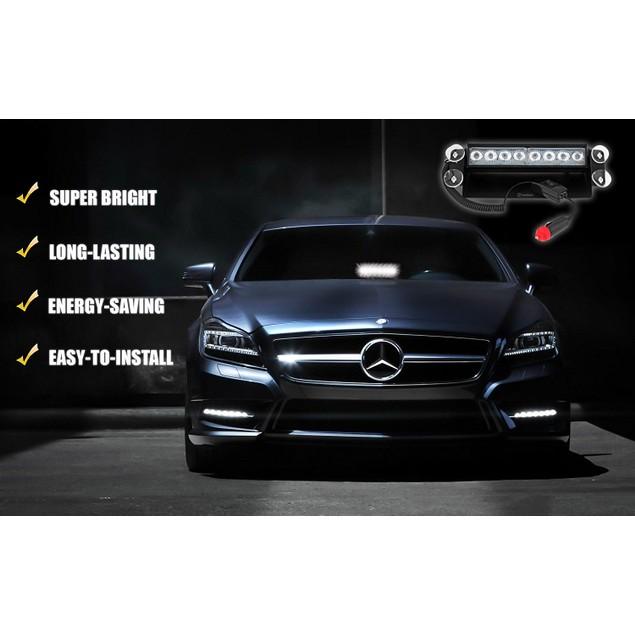 Zone Tech 8 LED Visor Dashboard Emergency Car Warning Strobe Light White