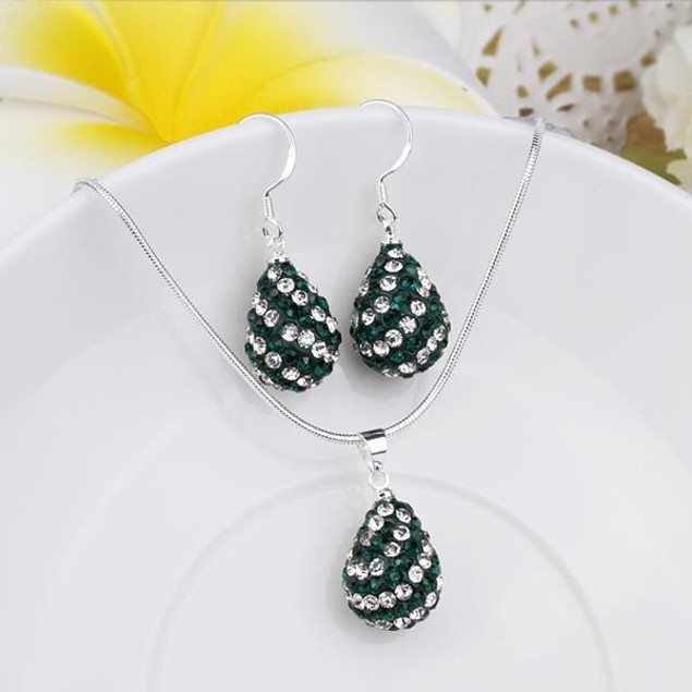 Austrian Stone Multi-Pave Pear Earring and Necklace Set - Swirl Emerald