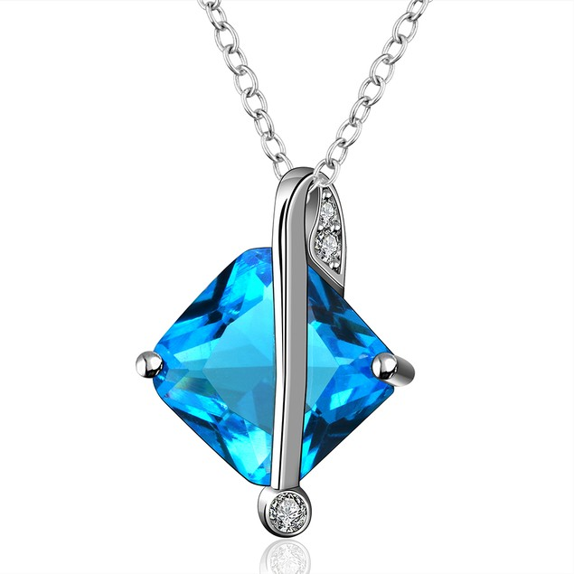 Imitation Sapphire Silver Lining Classic Necklace
