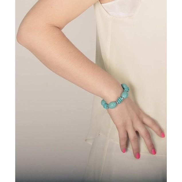Turquoise Bead Stretch Bracelet