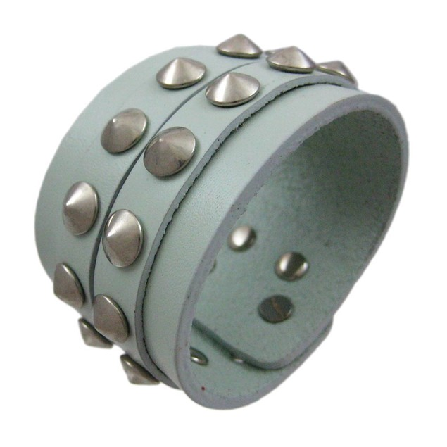 Gray Leather 2 Row Cone Spiked Wristband Wrist Mens Leather Bracelets