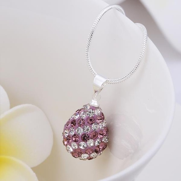 Multi-Toned Austrian Stone Pear Necklace - Vivid Lavender