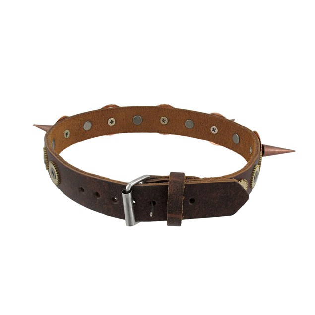 Brown Leather Steampunk Watch Gears Spiked Choker Choker Necklaces